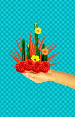 Contemporary art collage.  Cactus flowers lover concept