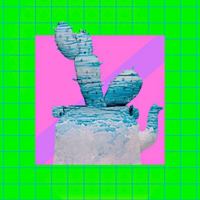 Contemporary art collage. Geometry texture  and cactus creative concept
