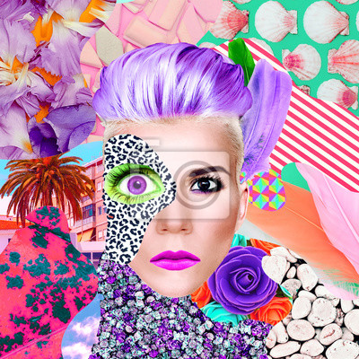 Contemporary art collage. Lady surreal and textures. Zine art