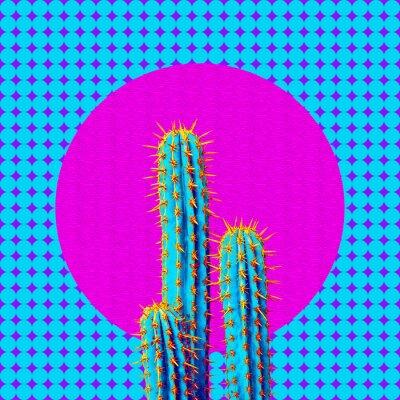 Contemporary art collage. Minimal geometry and cactus design