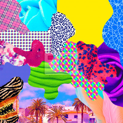 Contemporary art collage. Mix stylish textures
