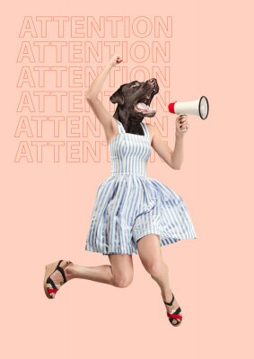 Obraz Contemporary art collage or portrait of surprised dog headed woman. Modern style pop zine culture concept. Woman screaming with a megaphone. Business processes, message, speaker, communication