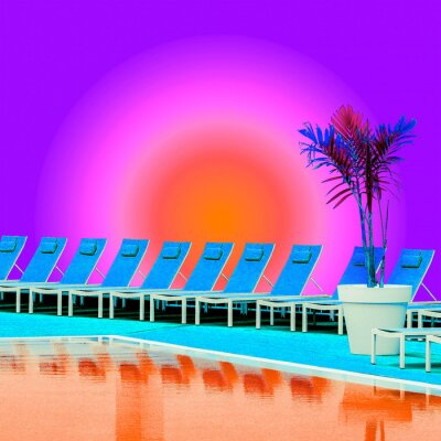 Contemporary art collage.  Tropical swimming poll location. Vacation relax time.