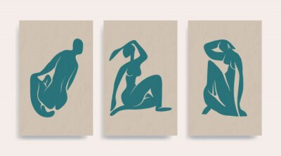 Obraz Contemporary Henri Matisse abstract vector poster. Woman nude figure sitting silhouette line art Matisse painting. Pastel reproduction of painting. Geometric shape collage.
