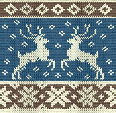 Obraz Cute pletení pozadí s dvěma sobů a sněhové vločky