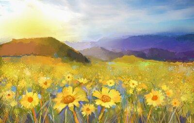 Obraz Daisy květina blossom.Oil obraz venkovského západu slunce