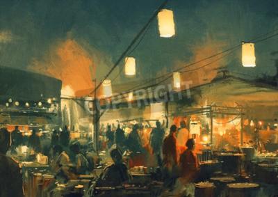 Obraz Dav lidí, kteří jdou na trh v noci, digitální obraz