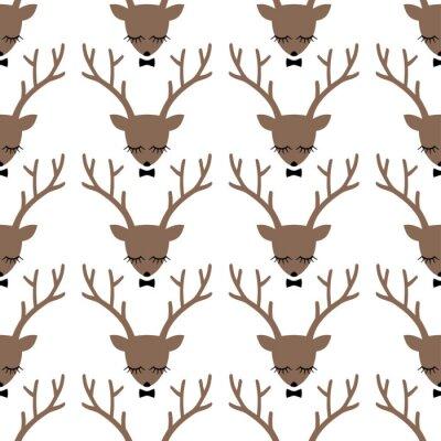 Obraz Deer hlava silueta bezproblémové vzorek. Zvířecí hlavy texturu. Roztomilý spící jelen s lukem zázemí pro zimní dovolenou.