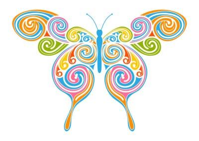 Obraz Dekoratives Vektor Element - bunter, Abstrakter Schmetterling mit Spirála Muster. Design Vorlage für Grußkarten und Hintergründe. Frühling, Frische Farben.