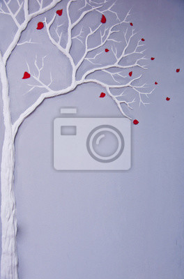 dekorativní sádrový strom na stěně, interiér