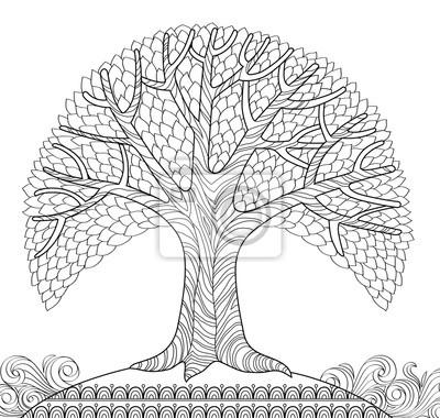Dekorativni Strom Omalovanka Proti Stresu Pro Dospele Cerne Obrazy