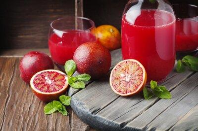 Obraz Delicious šťáva s červenými pomeranči a mátou