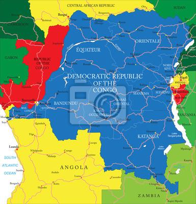 Demokratická republika mapě Kongo (bývalý Zair)