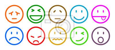 Deset Smajliku Emotivni Emoce Smajliky Kreslene Emotikony Obrazy