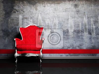 Design interiéru scénu s červeným retro křeslo