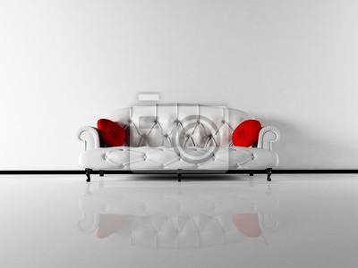 Design interiéru scénu s klasickým bílé pohovce v prázdné místnosti