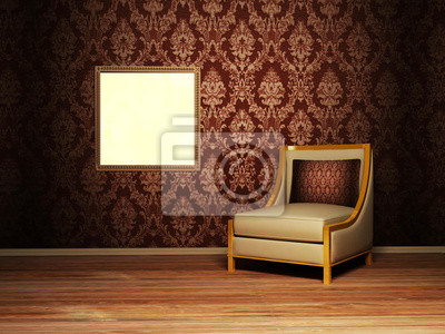 Design interiéru scénu s křeslem a fotografie