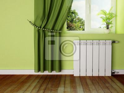 design interiéru scénu s radiátorem