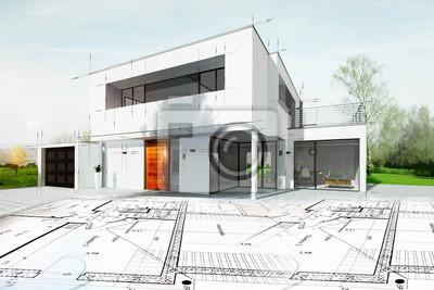 Obraz Dessin d'une maison d'architecte s plánem