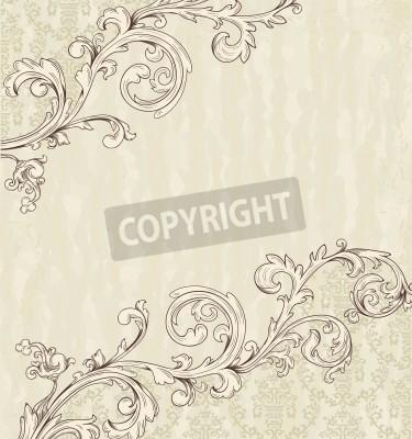 Obraz Detailed vintage card with damask wallpaper on beige grunge background