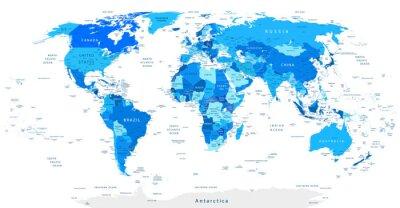 Obraz Detailní World Map Modrá