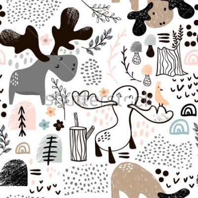 Obraz Dětinské bezešvé vzor s losy v lese a abstraktní tvary. Módní skandinávské vektorové pozadí. Ideální pro dětské oblečení, textilie, textil, dekorace do školek, balicí papír
