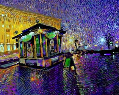 Obraz digital art  painting of night Kyiv city, vector illustration