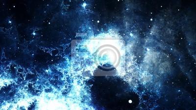 Obraz Digitální abstraktní světlé a barevné mlhoviny galaxie a hvězdy