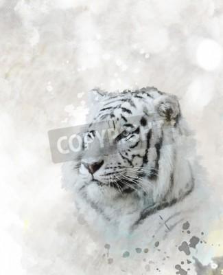 Obraz Digitální malba White Tiger Head