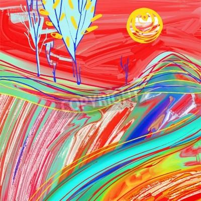 Obraz digitální obraz rudé slunce krajiny, kreativní umělecká díla inspirace, moderní impresionismus, vektorové ilustrace