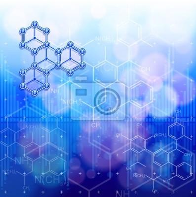 Digitální vln a chemických vzorců - technologie modré pozadí