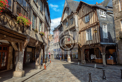 Dinan city, medieval houses in Old Town, Brittany, France
