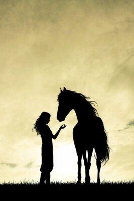 Obraz dívka a kůň silueta