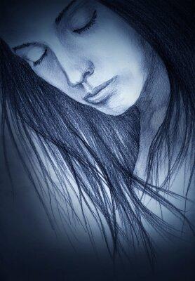 Obraz dívka se zavřenýma očima