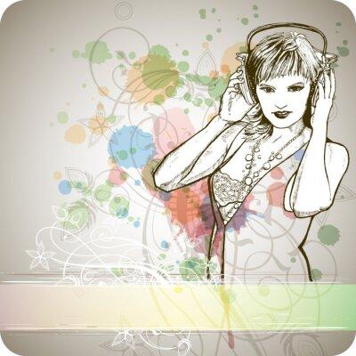 DJ dívka a hudba barvy mix - květinový ornament kaligrafie - chlívek