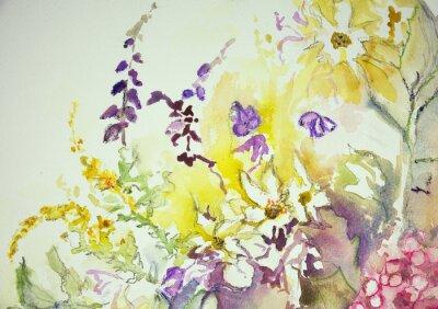 Obraz Dojem ze směsi divokých květin. Poklepáváním technika je u okrajů dává změkčující účinek v důsledku drsnosti změněné povrchu papíru.