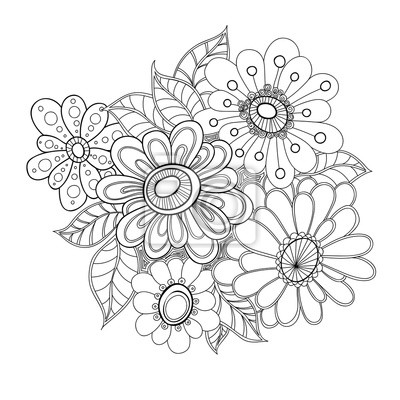 Doodle Art Kvetiny Zentangle Stylizovany Rucne Kreslene Kvety