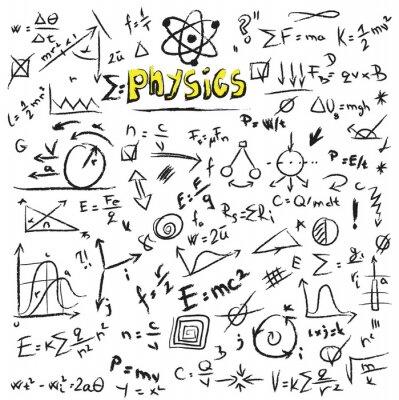 Obraz Doodle formule fyzika pozadí, textury a vzor