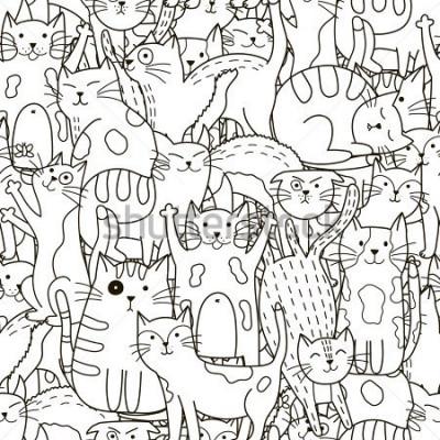 Obraz Doodle kočky bezešvé vzor. Černé a bílé roztomilé pozadí. Vynikající pro omalovánky, balení, tisk, textil a textil. Vektorové ilustrace