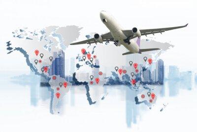 Obraz Doprava, import-export a koncepce logistiky, nákladní kontejnerová doprava, loď v přístavu a nákladní nákladní letadlo v dopravě a import-export obchodní logistika, lodní průmysl