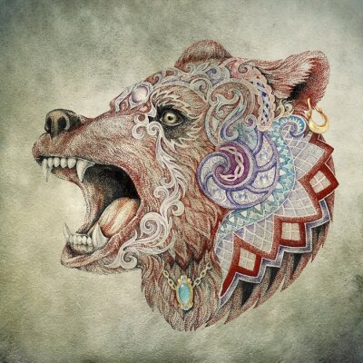 Obraz Dotwork, tattoo, head enraged bear