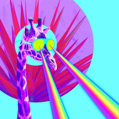 Dovolená žirafa s duhové lasery z očí. Minimální koláž vtipné umění