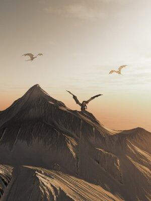 Obraz Dragon Peak při západu slunce, fantasy ilustrační