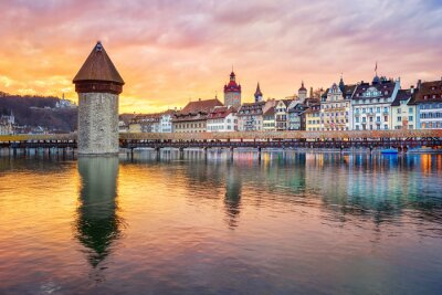 Dramatic sunset over historical Lucerne Old town, Switzerland