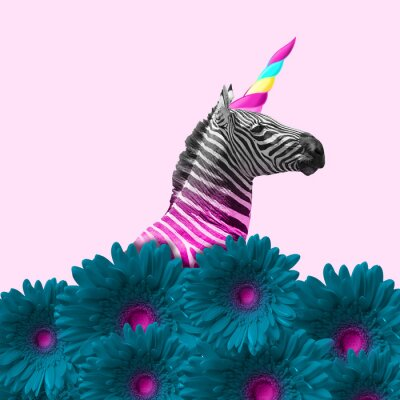 Obraz Dreaming about being better. An alternative zebra like a unicorn in blue flowers on pink background. Negative space. Modern design. Contemporary art. Creative conceptual and colorful collage.