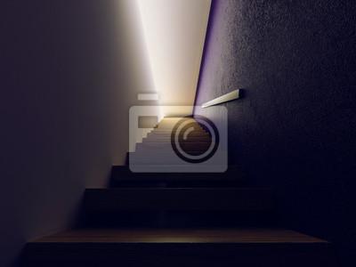 dřevěné schody v temné hale, 3d