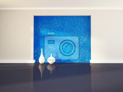 Dvě bílé vázy v blízkosti modré zdi, 3d