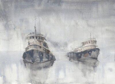 Obraz Dvě lodě v moři. Mlhavé počasí. Déšť. Moře. Fishind lodě.