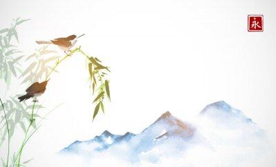 Obraz Dvě malé ptáky, bambusové větve a daleko modré hory. Tradiční orientální inkoustová malba sumi-e, u-sin, go-hua. Hieroglyf - věčnost.