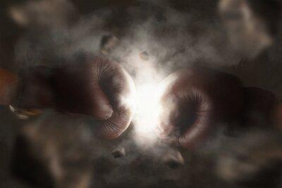 Obraz Dvě staré hnědé boxerské rukavice zasáhl společně